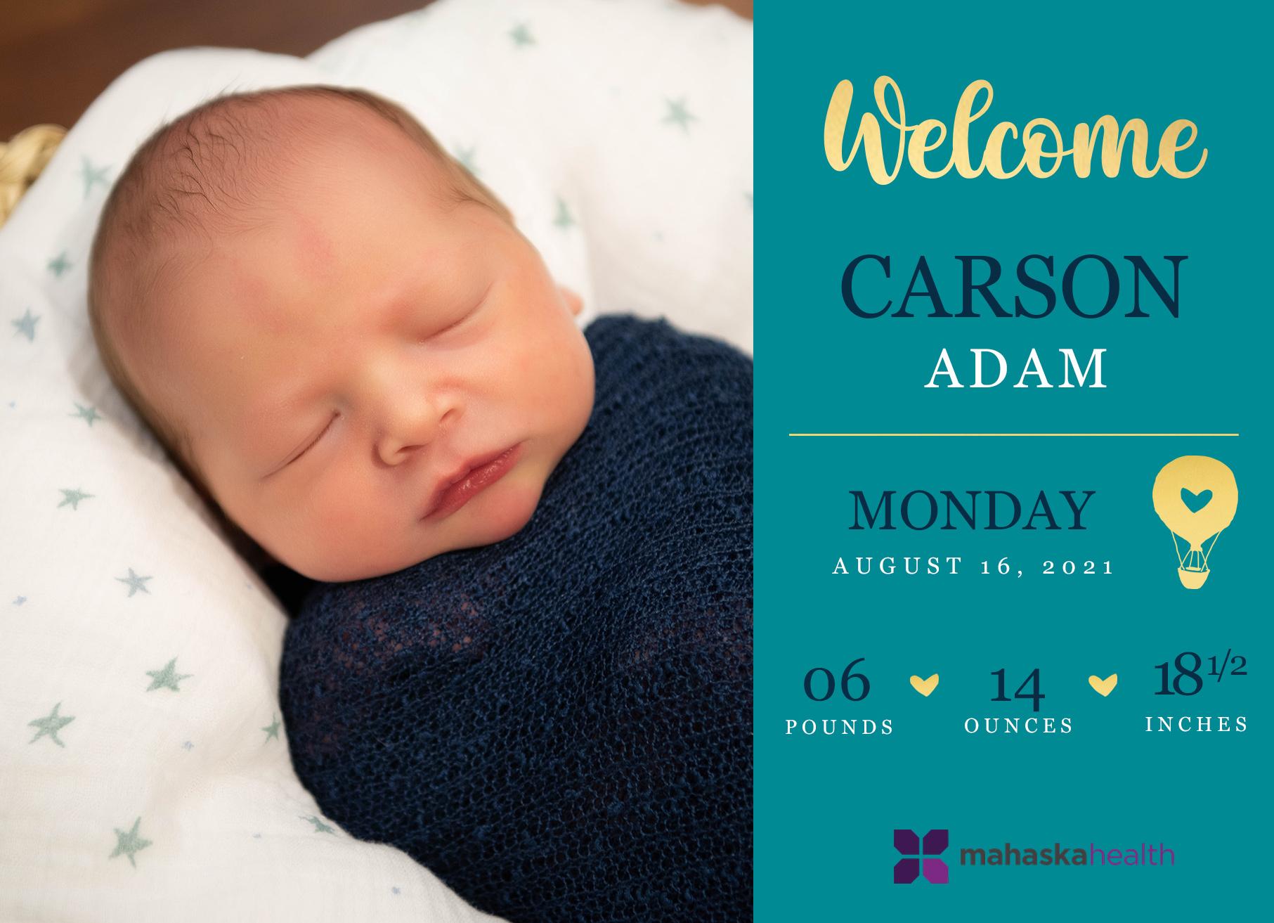 Welcome Carson Adam! 6