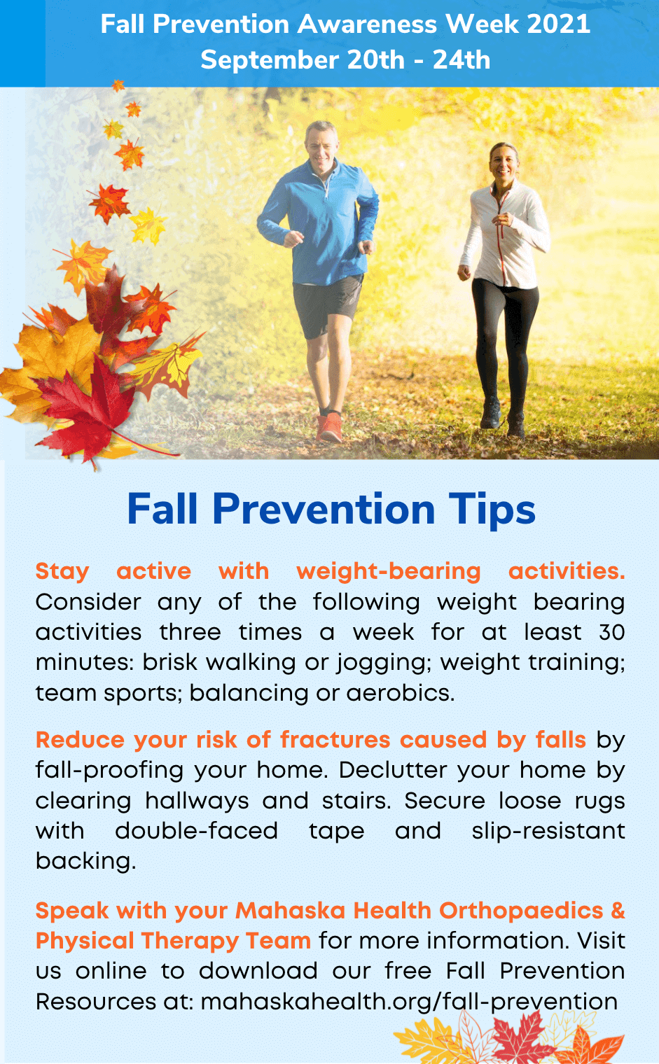 Fall Prevention Tips from your Orthopaedics & Physical Therapy Team 3